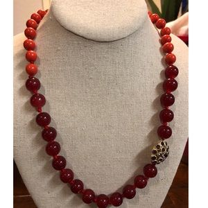 Fossil long beaded necklace
